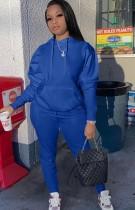 Conjunto de pantalón y top de manga abullonada con capucha azul casual de otoño