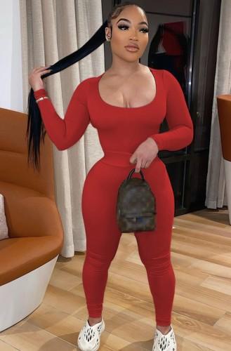 Herbst Casual Red U-Ausschnitt Langarm Crop Top und High Waist Hose Set