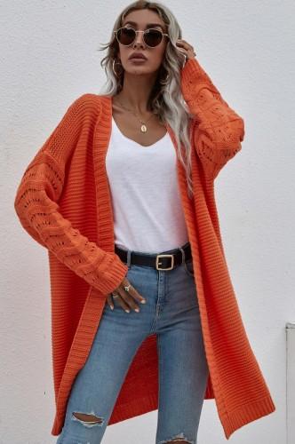 Winter oranje lang vest met verlaagde schouder