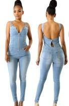Summer Blue Zipper Up Sleeveless Backless Demin Jumpsuit