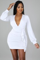 Autumn Sexy White Deep V-Neck Ruffles Long Sleeve Bodycon Dress