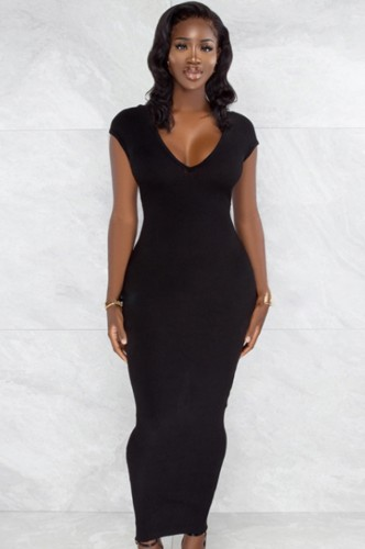 Sommer Schwarz V-Ausschnitt Kurzarm Skinny Langes Kleid