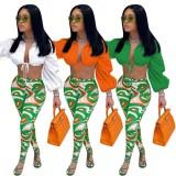 Set di leggings con stampa e top corto con maniche a sbuffo arancioni sexy autunnali