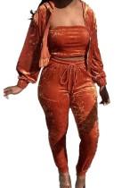 Otoño naranja chaleco top con cremallera sudaderas con capucha y conjunto de pantalón
