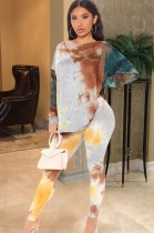 Conjunto de pantalón y top de manga larga teñido con lazo de otoño