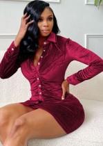 Autumn Sexy Red Botton-Open Collar Long Sleeve Bodycon Dress