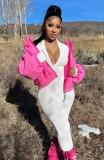 Tuta a maniche lunghe con collo alto con cerniera rosa casual autunnale con stampa di lettere
