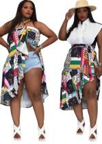 Summer Plus Size Retro Printed Irregualr Dual-wear Skirt