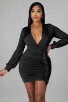 Autumn Sexy Black Deep V-Neck Ruffles Long Sleeve Bodycon Dress