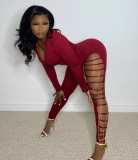 Autumn Sexy Red Zipper Up  Long Sleeve with Chain Hollow out Jumpsuit