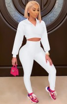 Conjunto de leggings de cintura alta y top corto de manga larga blanco otoñal