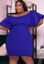 Autumn Formal Blue Off Shoulder Bodycon Dress with Wide Sleeves