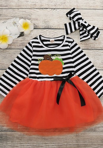 一致するヘッドバンドが付いている女の赤ちゃん秋のカボチャのチュチュパーティードレス