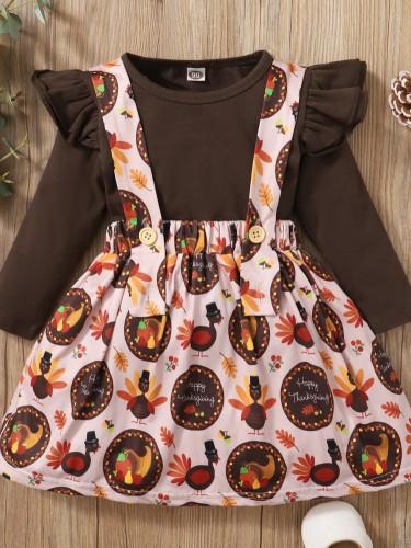 Baby Mädchen Herbst Print zweiteiliges Hosenträgerrock-Set