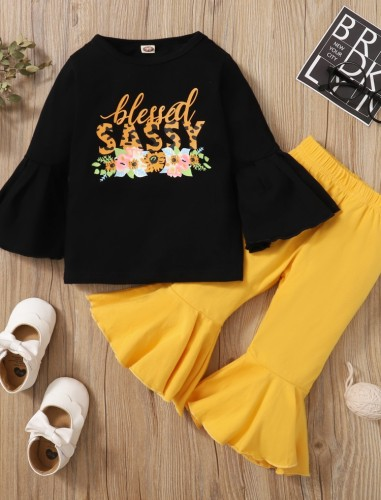 Baby Mädchen Herbst Print schwarzes Hemd und gelbe Glockenhose Set