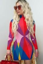 Autumn Multicolor Geommetric Long Sleeve Mini Bodycon Dress