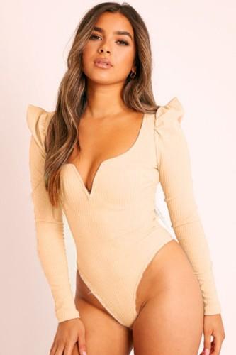 Bodysuit básico em malha bege outono com decote em V e mangas compridas