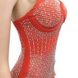 Vestito longuette con cinturino push-up con perline rosse sexy da festa estiva