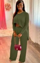 Herbst Casual Grün unregelmäßiges Hemd und Hose passendes Set
