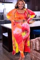 Top y pantalones con efecto tie dye de talla grande de otoño, conjunto de 3 piezas de overoles a juego