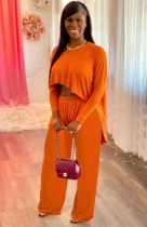 Autunno Casual Arancione Irregolare Camicia e Pantaloni Abbinati Set