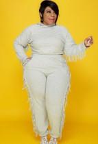 Autumn Plus Size Grey Tassels Hoody Top y pantalones Sweatsuit