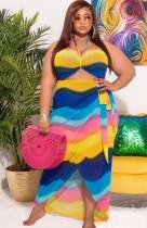 Summer Plus Size Rainbow Halter Long Sundress