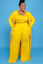 Top y pantalones amarillos de talla grande de otoño, conjunto de 3 piezas de overol a juego