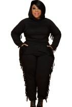 Autumn Plus Size Black Tassels Hoody Top y pantalones Sweatsuit