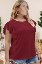 Blusa de cuello redondo con parche de encaje rojo de talla grande de verano