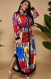 Herbstfarbenes, langes Blusenkleid mit Seitenschlitzen in Übergröße