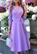 Herbst Elegantes V-Ausschnitt Wrap Lila Langes Blazerkleid mit Gürtel