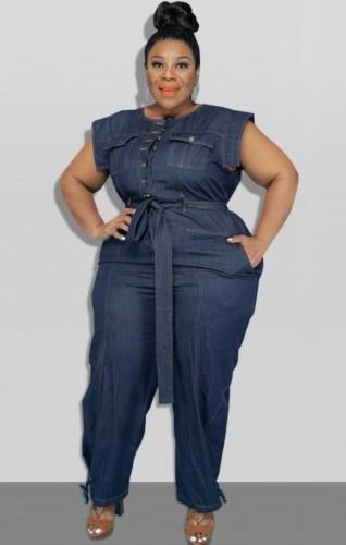 Summer Plus Size Sleeveless Denim Jumpsuit with Belt