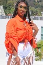 Top corto con cordones fruncidos con manga abullonada naranja de talla grande de otoño