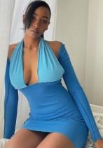 Mini vestido halter azul con bloques de color otoñal