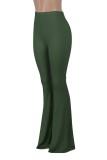 Herbstliche elegante grüne Schlaghose mit hoher Taille