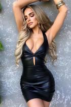 Otoño Formal Sexy Ojo de cerradura Mini vestido de cuero con cuello halter negro