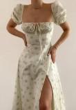 Sommer Formales Blumen Elegantes Quadrat Geschlitztes Langes Kleid mit Puffärmeln