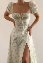 Vestido largo con abertura cuadrada elegante floral formal de verano con mangas abullonadas