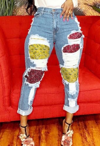 Autumn Blue Denim Enthic Patch High Waist Jeans