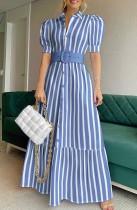 Vestido largo elegante de rayas azules formales de otoño con cinturón