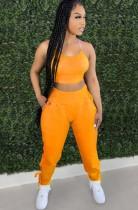 Summer Orange Halter Crop Top y conjunto de pantalones de cintura alta