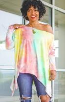Camisa holgada irregular con estampado tie dye de otoño
