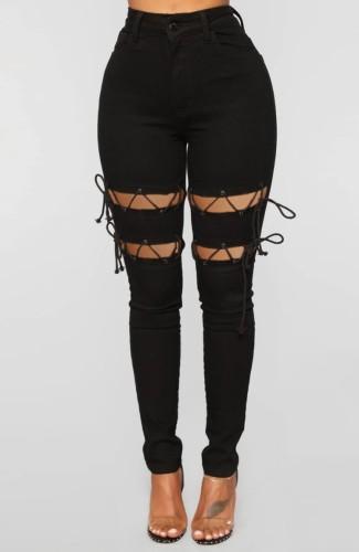 Autumn Black Denim Lace-Up High Waist Tight Jeans