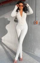 Herbst Elegantes, weißes, geripptes, schmales Top und Hosen-Set
