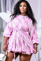 Herbst Plus Size Print Casual Kurzes Kleid mit Gürtel