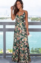 Vestido de noche largo con correa floral elegante de verano