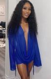 Herbstparty Sexy Blaues Minikleid mit tiefem V-Netz