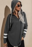 Herbst Casual Grau V-Ausschnitt Seitenschlitz Hoody Shirt