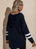 Herbst beiläufiges blaues V-Ausschnitt-Kapuzenshirt mit seitlichem Schlitz
